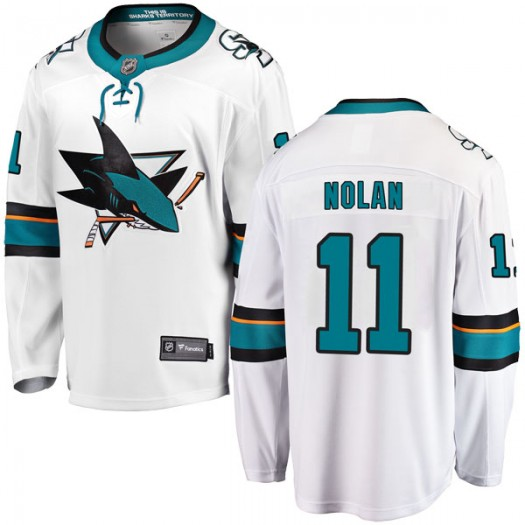 Owen Nolan San Jose Sharks Youth Fanatics Branded White Breakaway Away Jersey