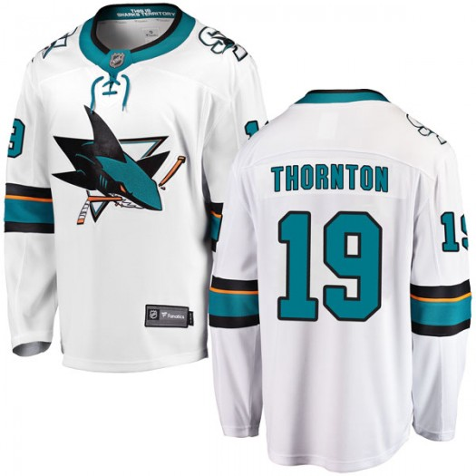 Joe Thornton San Jose Sharks Youth Fanatics Branded White Breakaway Away Jersey
