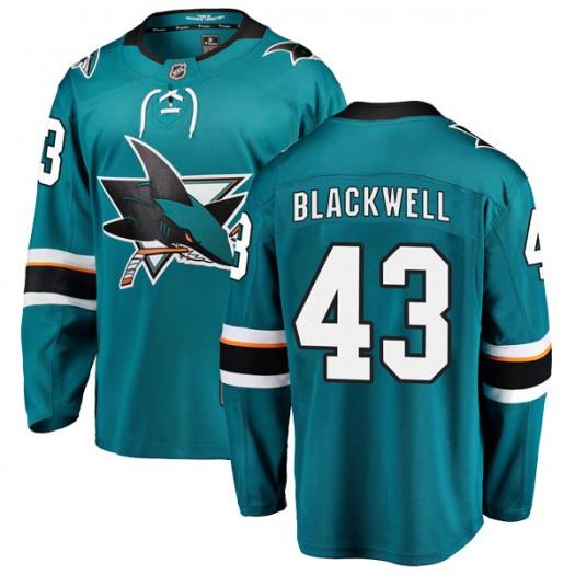 Colin Blackwell San Jose Sharks Youth Fanatics Branded Black Breakaway Teal Home Jersey
