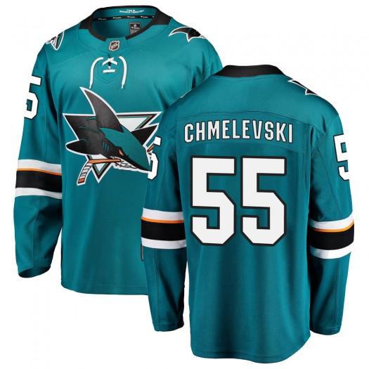 Alexander Chmelevski San Jose Sharks Youth Fanatics Branded Teal Breakaway Home Jersey