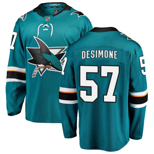 Nick DeSimone San Jose Sharks Youth Fanatics Branded Teal Breakaway Home Jersey