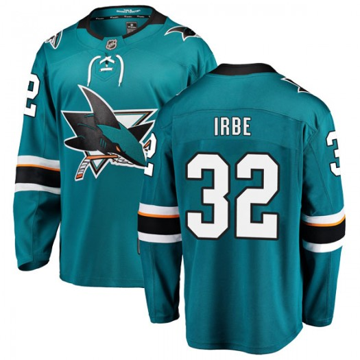 Arturs Irbe San Jose Sharks Youth Fanatics Branded Teal Breakaway Home Jersey