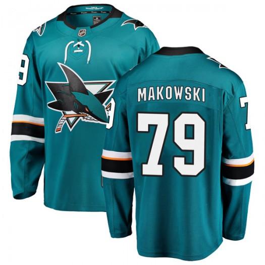 David Makowski San Jose Sharks Youth Fanatics Branded Teal Breakaway Home Jersey