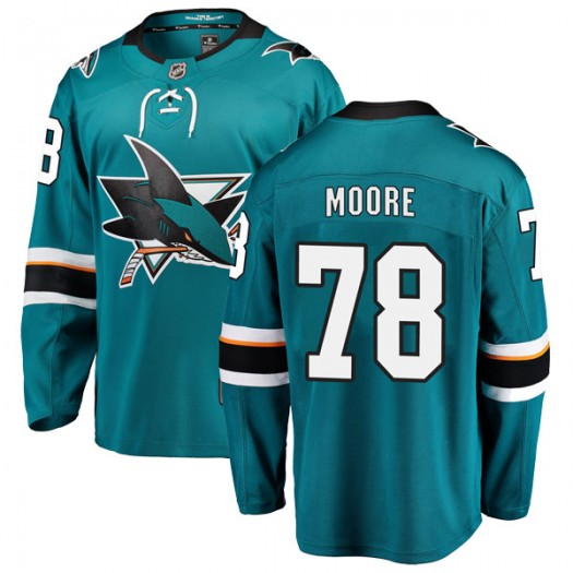 Bryan Moore San Jose Sharks Youth Fanatics Branded Teal Breakaway Home Jersey
