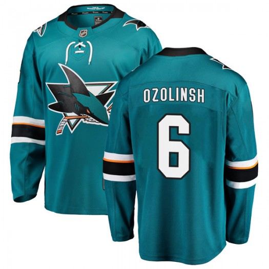 Sandis Ozolinsh San Jose Sharks Youth Fanatics Branded Teal Breakaway Home Jersey
