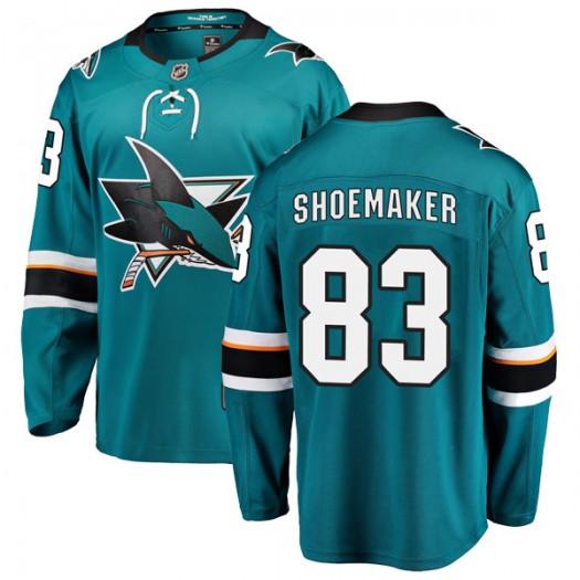 Mark Shoemaker San Jose Sharks Youth Fanatics Branded Teal Breakaway Home Jersey