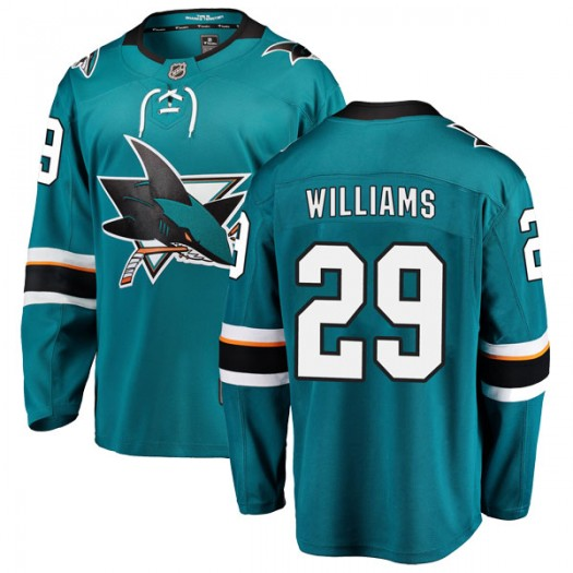 Stephon Williams San Jose Sharks Youth Fanatics Branded Teal Breakaway Home Jersey