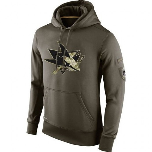 San Jose Sharks Men's Nike Olive Salute To Service KO Performance Hoodie