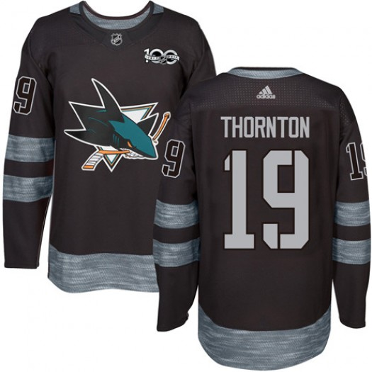 Joe Thornton San Jose Sharks Men's Adidas Authentic Black 1917-2017 100th Anniversary Jersey