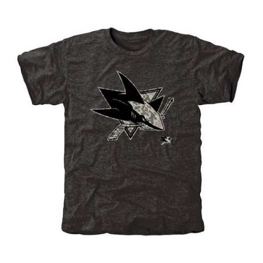 San Jose Sharks Men's Black Rink Warrior Tri-Blend T-Shirt
