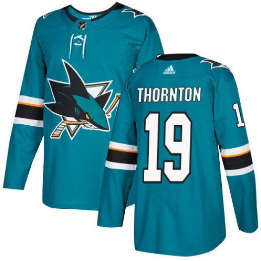 Joe Thornton San Jose Sharks Youth Adidas Authentic Green Teal Home Jersey