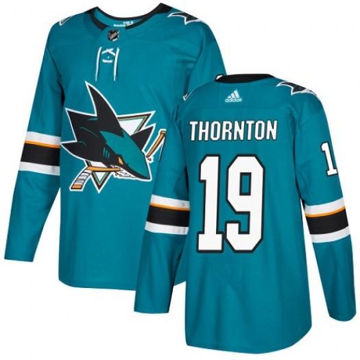 Joe Thornton San Jose Sharks Youth Adidas Authentic Green Teal Home Jersey