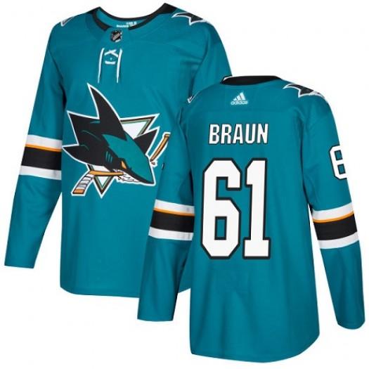 Justin Braun San Jose Sharks Youth Adidas Authentic Green Teal Home Jersey
