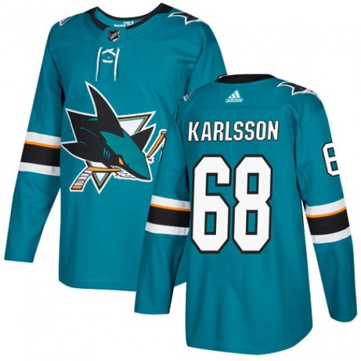 Melker Karlsson San Jose Sharks Youth Adidas Authentic Green Teal Home Jersey