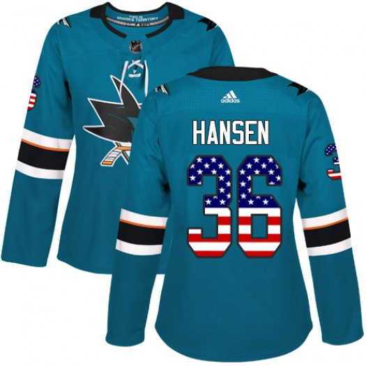 Jannik Hansen San Jose Sharks Women's Adidas Authentic Green Teal USA Flag Fashion Jersey