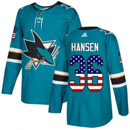 Jannik Hansen San Jose Sharks Youth Adidas Authentic Green Teal USA Flag Fashion Jersey