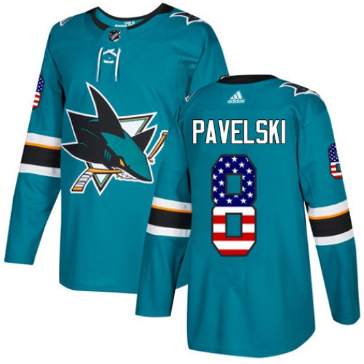 Joe Pavelski San Jose Sharks Men's Adidas Authentic Green Teal USA Flag Fashion Jersey