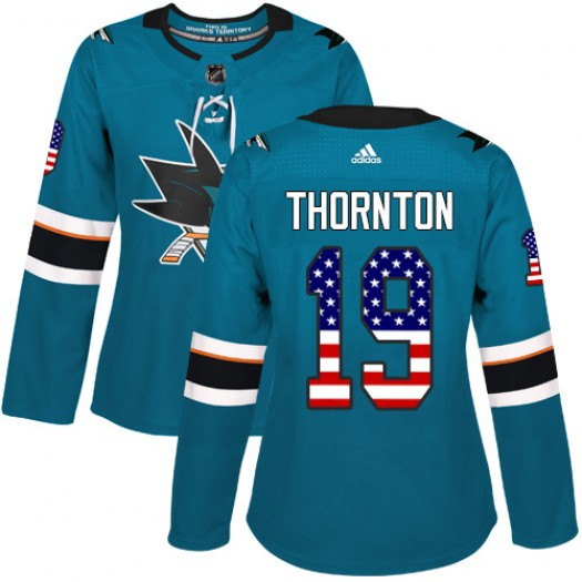 Joe Thornton San Jose Sharks Women's Adidas Authentic Green Teal USA Flag Fashion Jersey