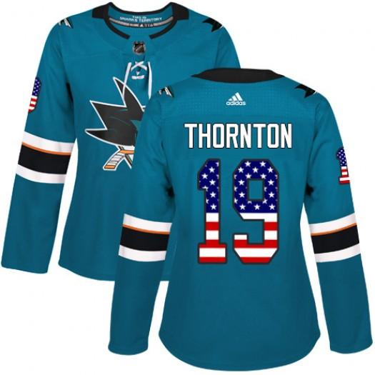 Joe Thornton San Jose Sharks Women's Adidas Authentic Green Teal USA Flag Fashion Jersey
