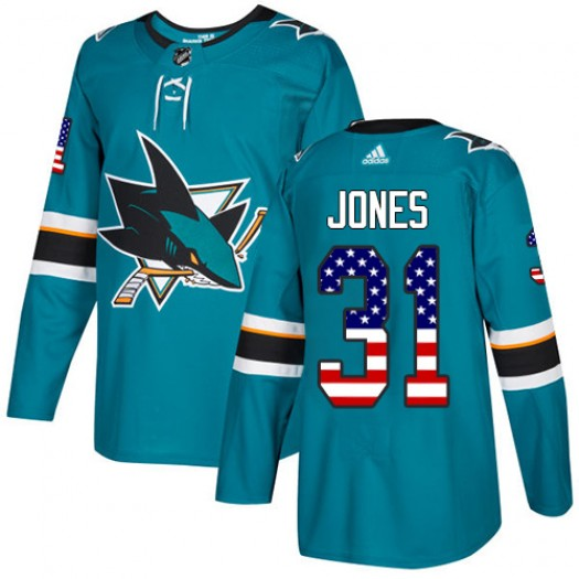 Martin Jones San Jose Sharks Youth Adidas Authentic Green Teal USA Flag Fashion Jersey
