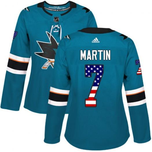 Paul Martin San Jose Sharks Women's Adidas Authentic Green Teal USA Flag Fashion Jersey