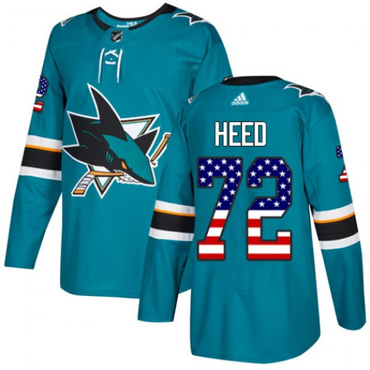 Tim Heed San Jose Sharks Youth Adidas Authentic Green Teal USA Flag Fashion Jersey