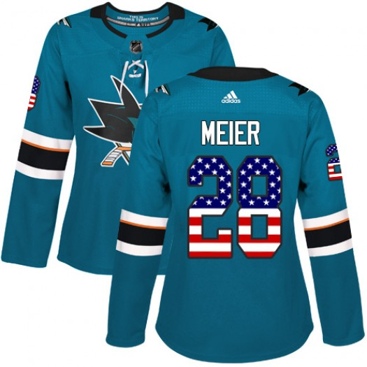 Timo Meier San Jose Sharks Women's Adidas Authentic Green Teal USA Flag Fashion Jersey